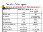 details of disc speed sample specifications of discs at present