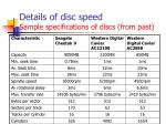 details of disc speed sample specifications of discs from past