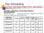 disc scheduling sample tabulated data from simulation