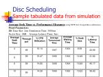 disc scheduling sample tabulated data from simulation2