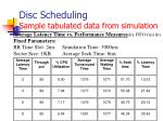 disc scheduling sample tabulated data from simulation3