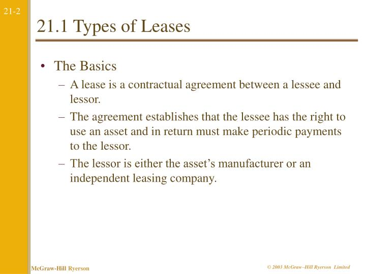 21 1 types of leases