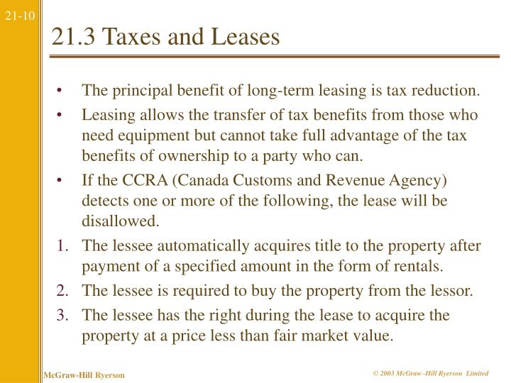 21.3 Taxes and Leases