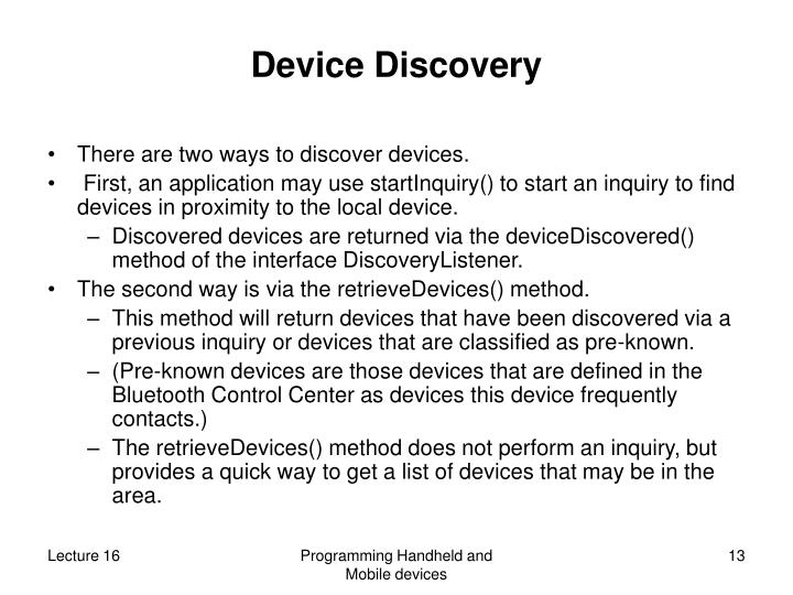 Device Discovery