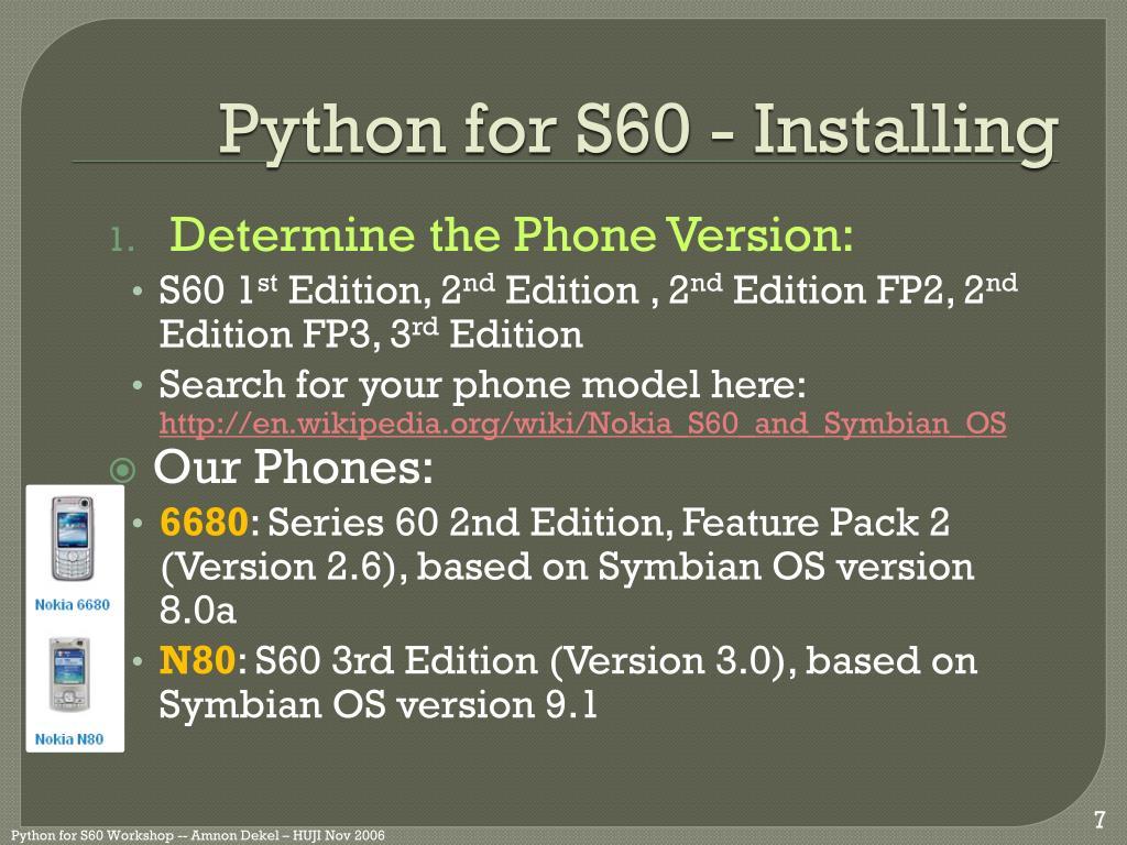 Python 1. 4. 5 free symbian s60 3rd, 5th edition & symbian^3 app.