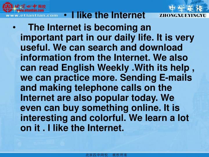 I like the Internet