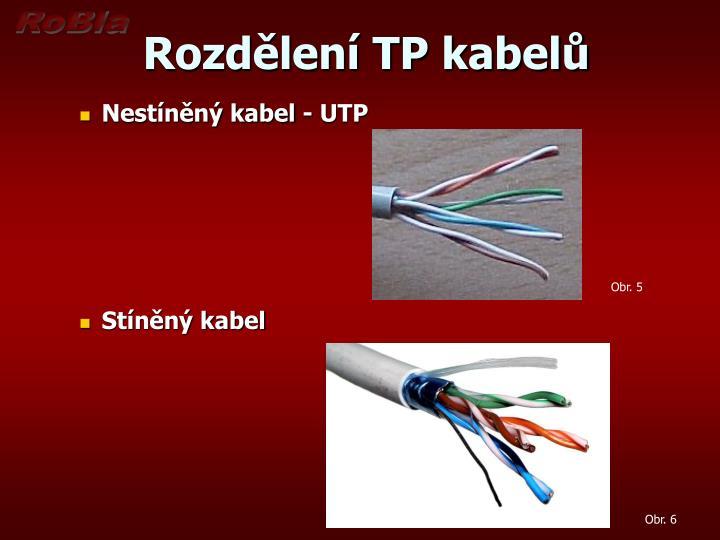 Rozdělení TP kabelů