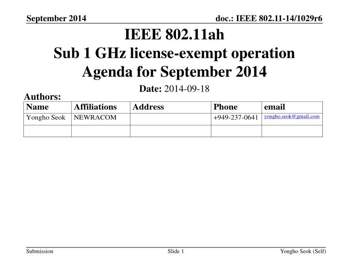 ieee 802 11ah sub 1 ghz license exempt operation agenda for september 2014 n.