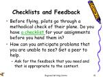 checklists and feedback