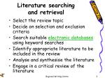 literature searching and retrieval