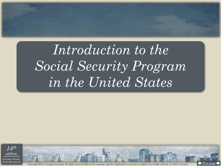 Introduction to the social security program in the united states