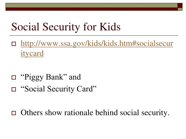 Social Security for Kids