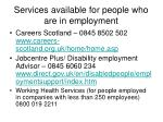 services available for people who are in employment
