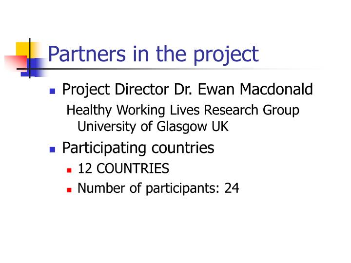 Partners in the project