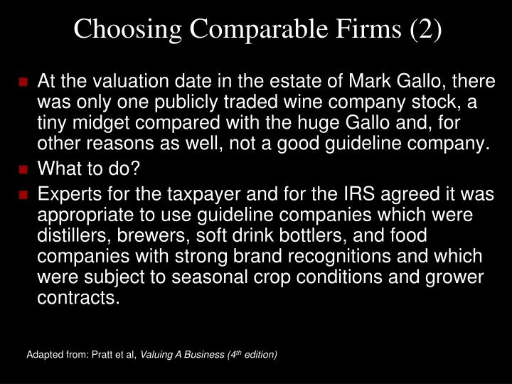 Choosing Comparable Firms (2)