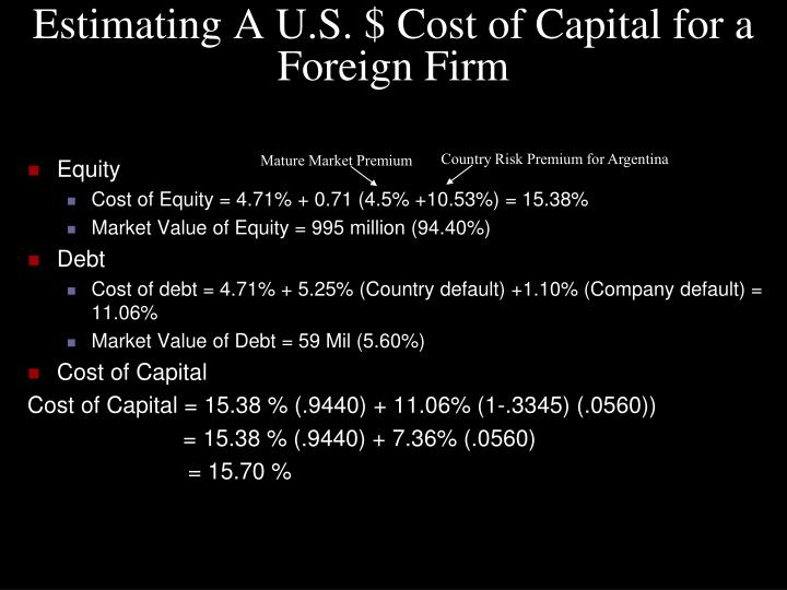 Estimating A U.S. $ Cost of Capital for a Foreign Firm