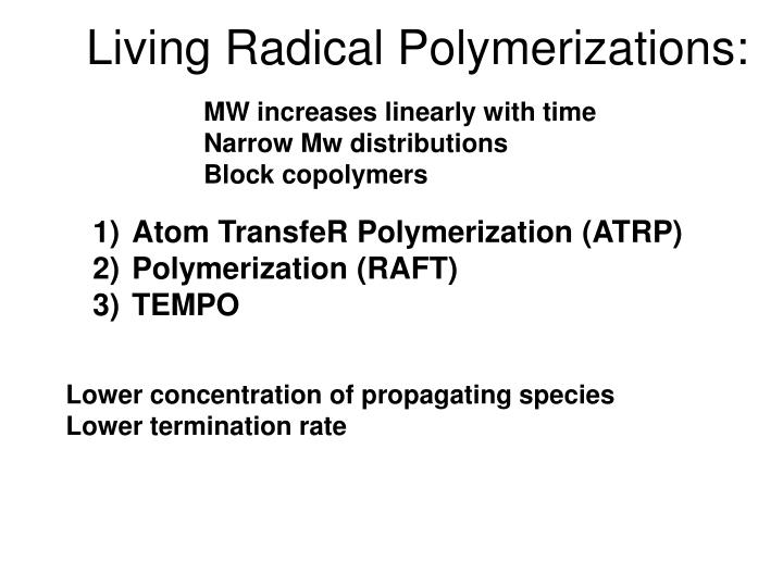 Living Radical Polymerizations: