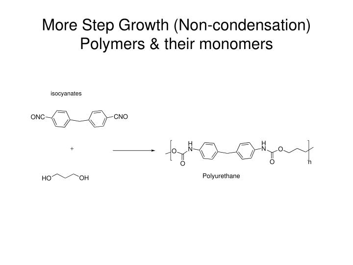 More Step Growth (Non-condensation) Polymers & their monomers