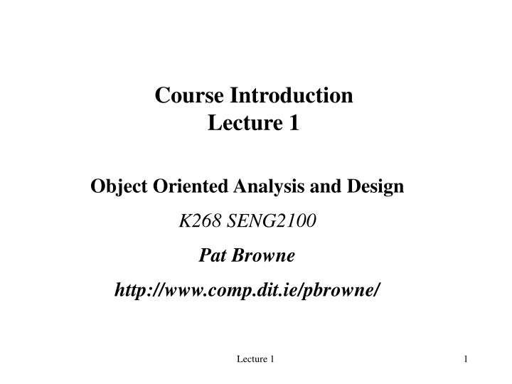 course introduction lecture 1 n.