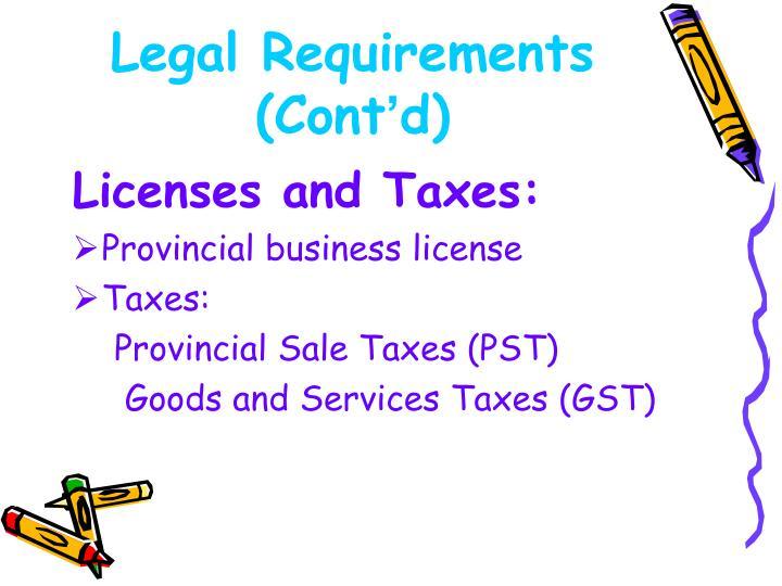 Legal Requirements (Cont