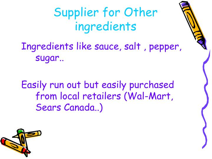 Supplier for Other ingredients