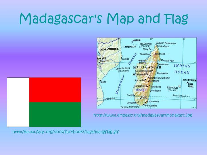 Madagascar s map and flag