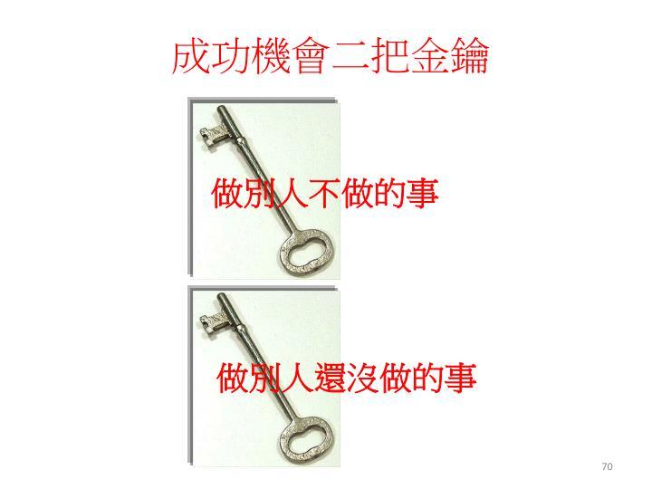 成功機會二把金鑰