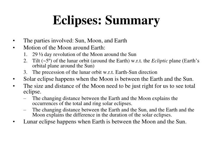 Eclipses: Summary