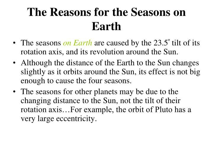 The Reasons for the Seasons on Earth
