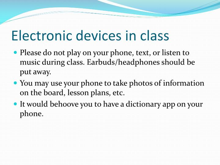 Electronic devices in class