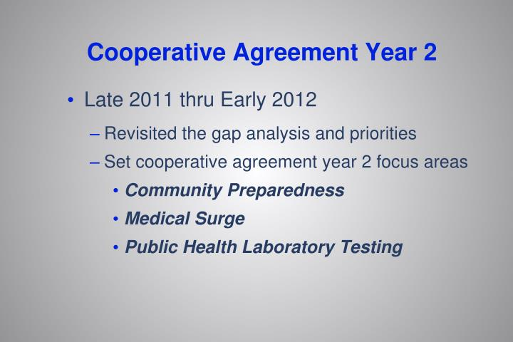 Cooperative Agreement Year 2
