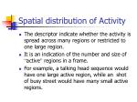 spatial distribution of activity