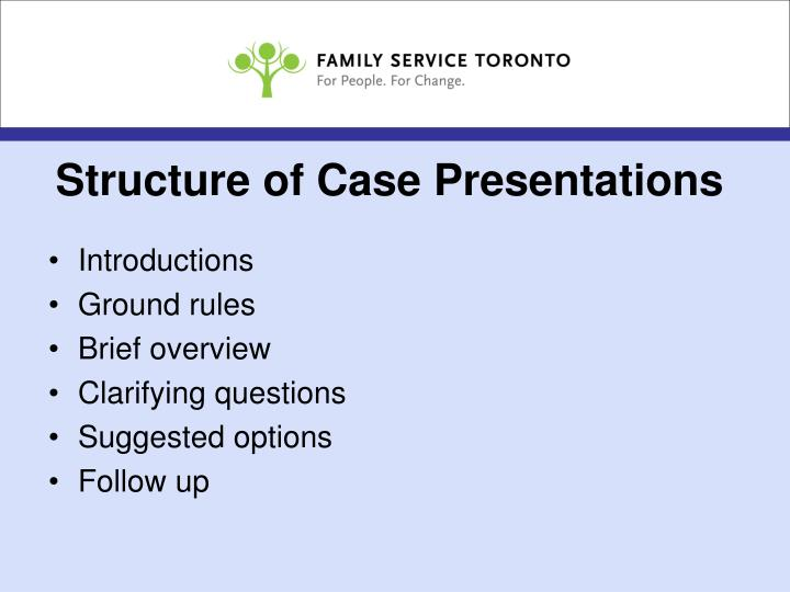 Structure of Case Presentations