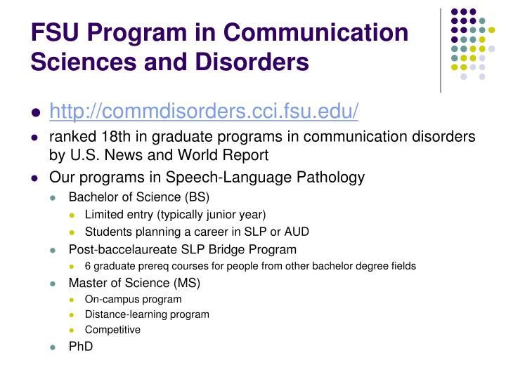 FSU Program in Communication Sciences and Disorders