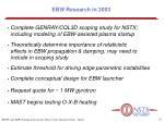 ebw research in 2003