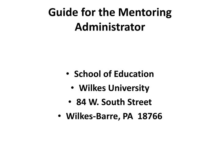 Guide for the mentoring administrator
