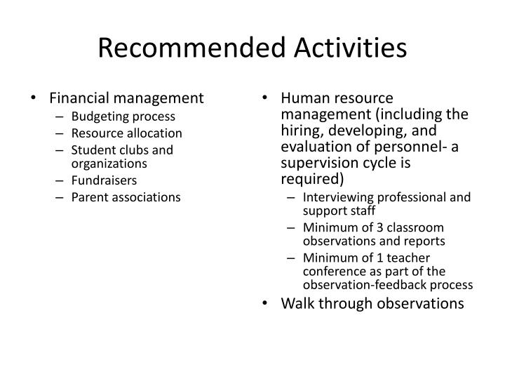 Recommended Activities
