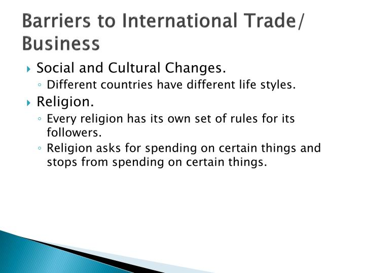 Barriers to International Trade/ Business