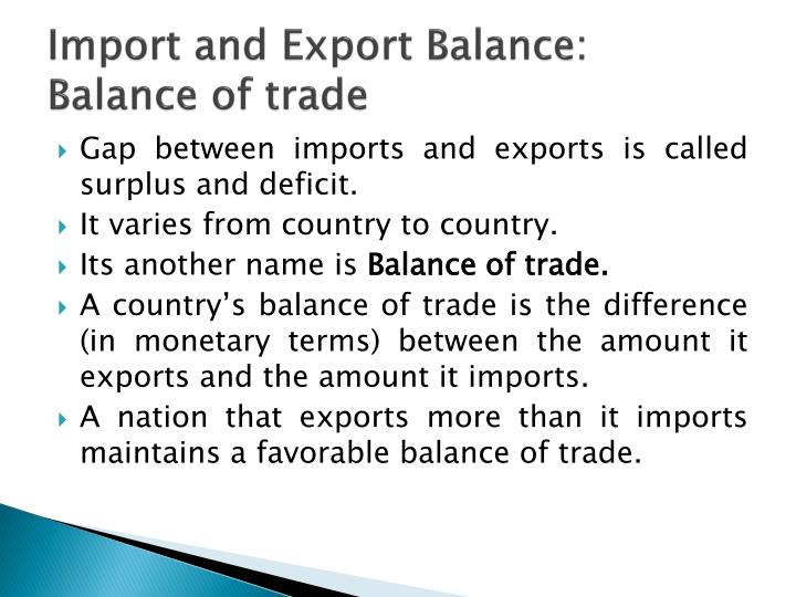 Import and Export Balance: Balance of trade