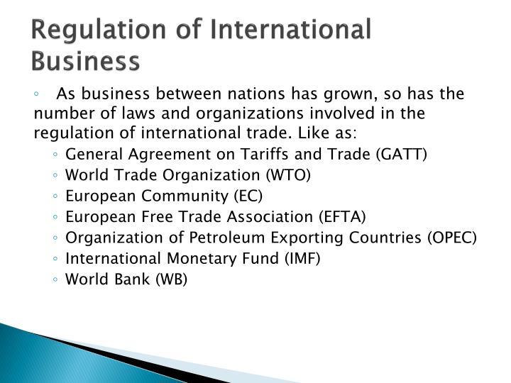Regulation of International Business
