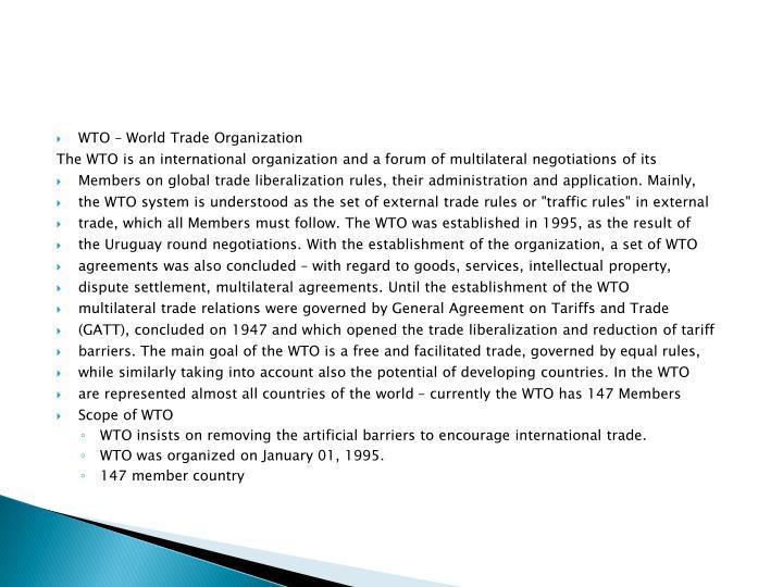 WTO – World Trade Organization