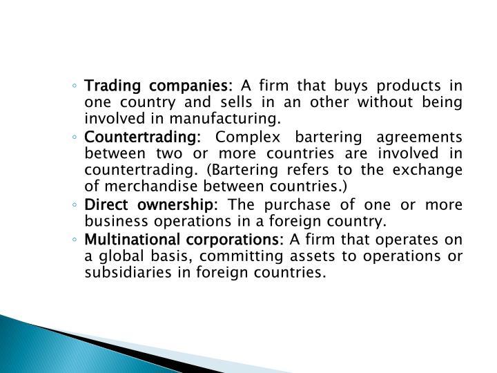 Trading companies: