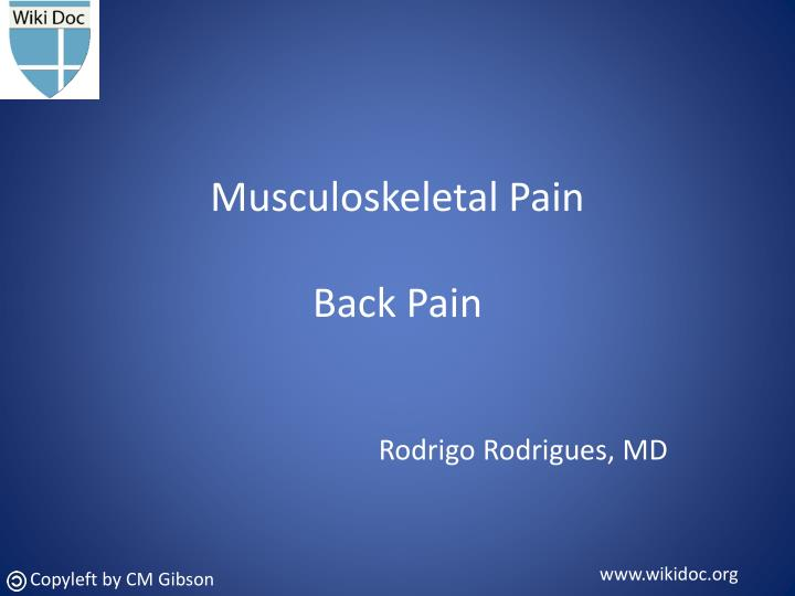 musculoskeletal pain back pain n.