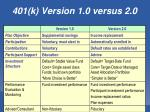 401 k version 1 0 versus 2 0