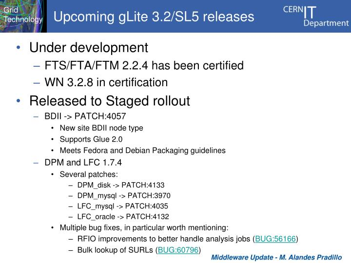 Upcoming gLite 3.2/SL5 releases