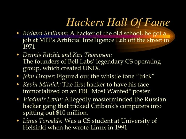 Hackers Hall Of Fame