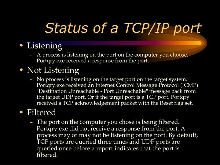 Status of a TCP/IP port
