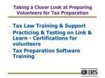 taking a closer look at preparing volunteers for tax preparation