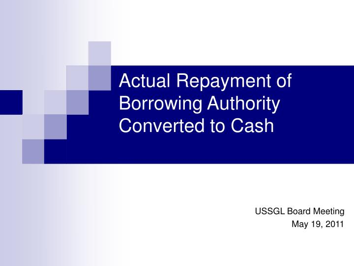 actual repayment of borrowing authority converted to cash n.
