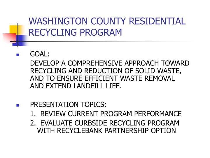 washington county residential recycling program n.